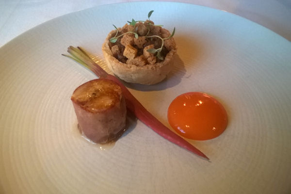 James Martin Manchester -  Wild rabbit, Pickled carrot purée, fennel pollen, black trufle